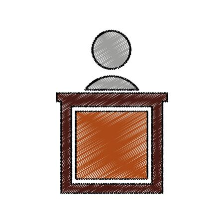 Judge on the stage isolated icon vector illustration design