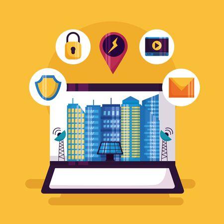 laptop control management services smart city vector illustration Ilustração