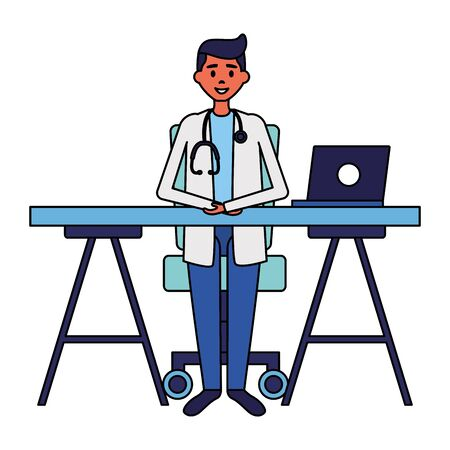 medical doctor in the office with laptop vector illustration vector illustration