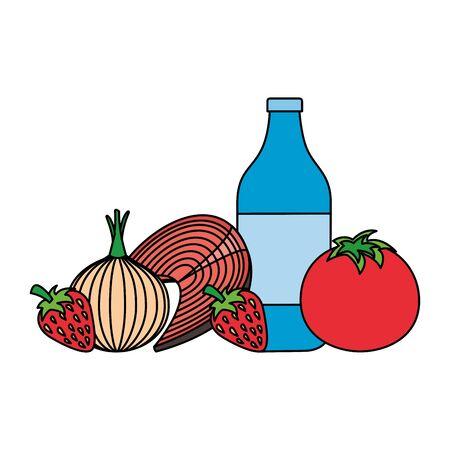 water bottle tomato onion fish world health day vector illustration Çizim
