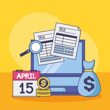 money bag laptop calendar forms tax payment vector illustration Stock Vector - 129374862