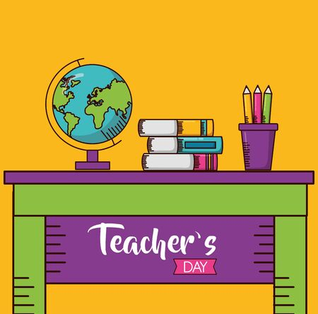 school desk globe books pencils teachers day