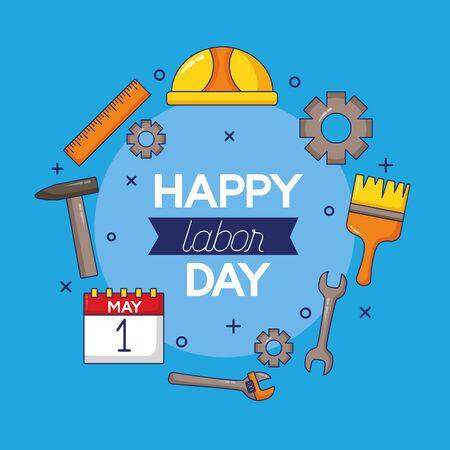 calendar helmet brush tools labour day vector illustration