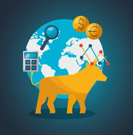 world bull exchange money calculator financial stock market vector illustration Ilustracja