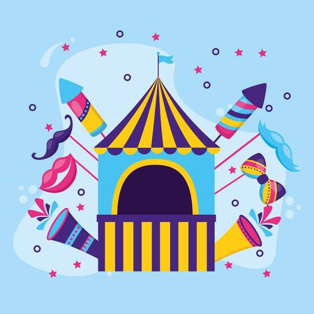 carnival booth flag rockets fireworks vector illustration