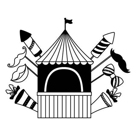 carnival booth flag rockets fireworks on white background Ilustracja