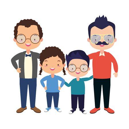Los padres y los niños celebración del día del padre, diseño de ilustraciones vectoriales