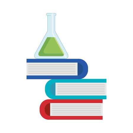 tube test with pile books vector illustration design