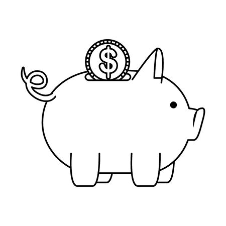 piggy money savings with coin money vector illustartion design