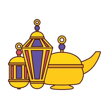 indian tea pot and lantern culture vector illustration design