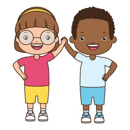 happy boy and girl waving hand vector illustration