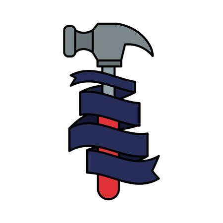 hammer tool with ribbon vector illustration design