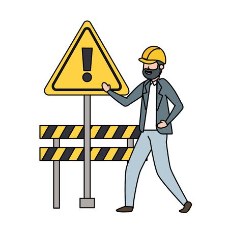 contractor man barrier construction warning vector illustration