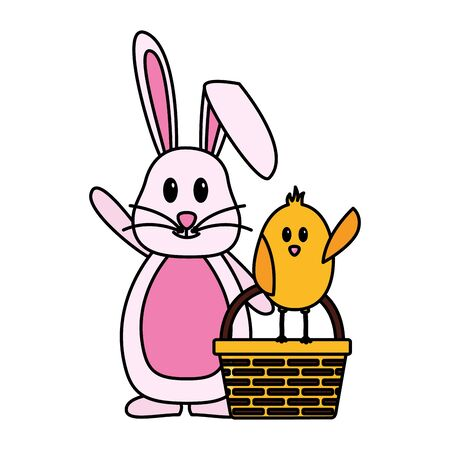 happy easter rabbit chick basket vector illustration Ilustrace