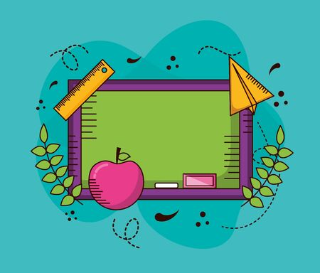 blackboard apple paper plane school teachers day vector illustration design