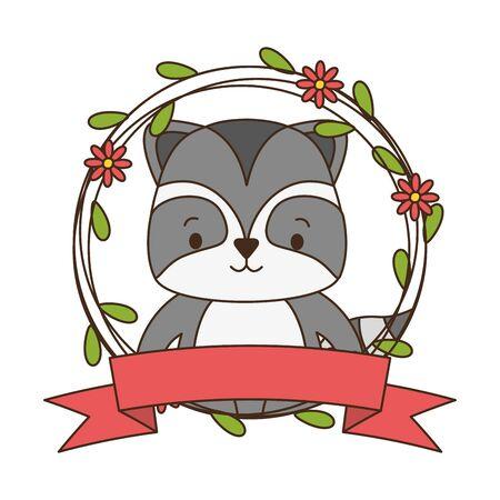 cute raccoon cartoon sticker flowers vector illustration design Reklamní fotografie - 129375419
