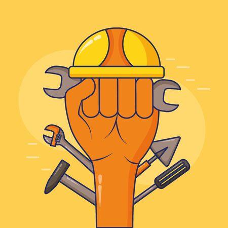 raised hand helmet tools happy labour day vector illustration 스톡 콘텐츠 - 129375431
