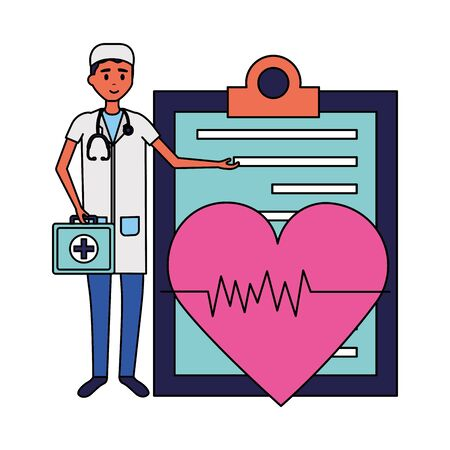 medical people staff clipboard and heartbeat suitcase vector illustration vector illustration