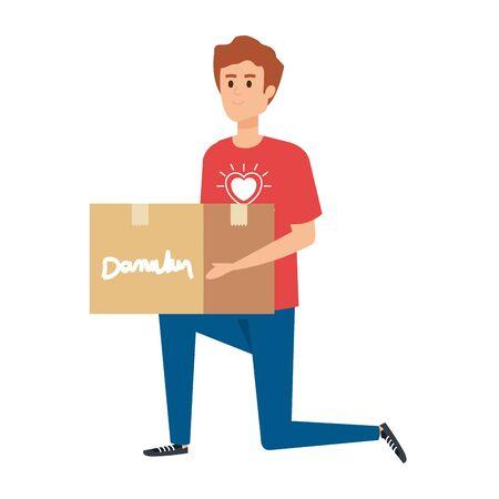 young man volunteer lifting donations box vector illustration design