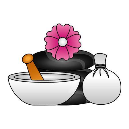 hot compress stones bowl flowers spa treatment therapy vector illustration Foto de archivo - 129375621
