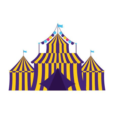 carnival tent circus amusement vector illustration design