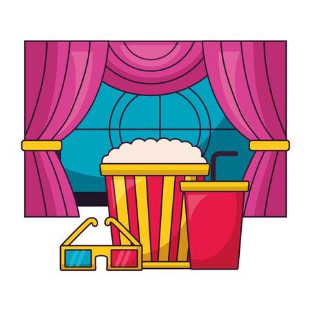 cinema movie screen pop corn soda 3d glasses curtain vector illustration