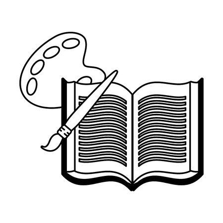 open book palette color brush vector illustration