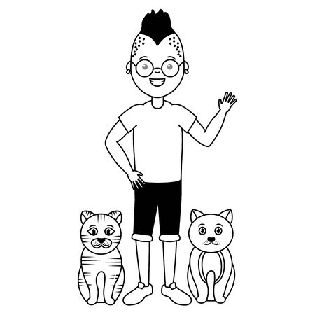 young man and cats pets vector illustration Illustration