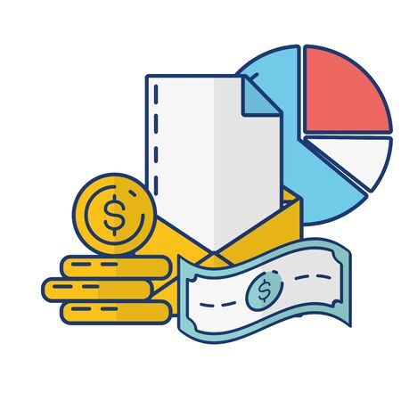 mail money report online payment vector illustration