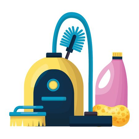 vacuum toilet brush sponge detergent spring cleaning tools Ilustrace