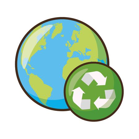 planet with recycle sign earth day vector illustration Stock Illustratie