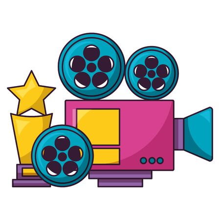projector film reel and award cinema movie vector illustration Stok Fotoğraf - 129374524