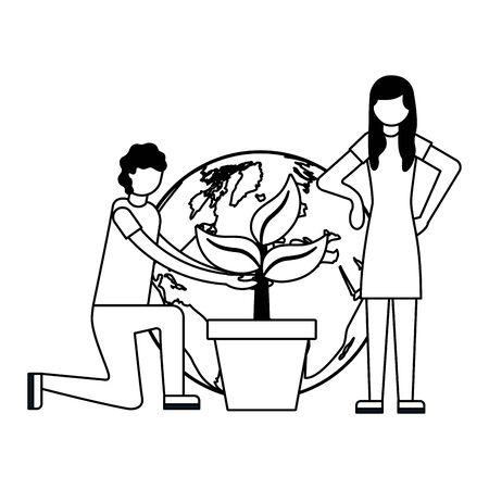 couple world plant earth day vector illustration 向量圖像