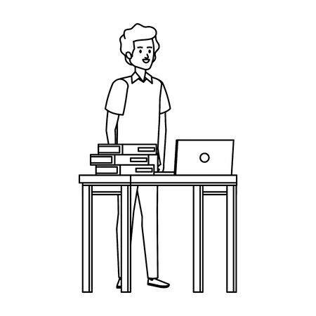 young teacher in desk with laptop and books vector illustration design Stock Illustratie