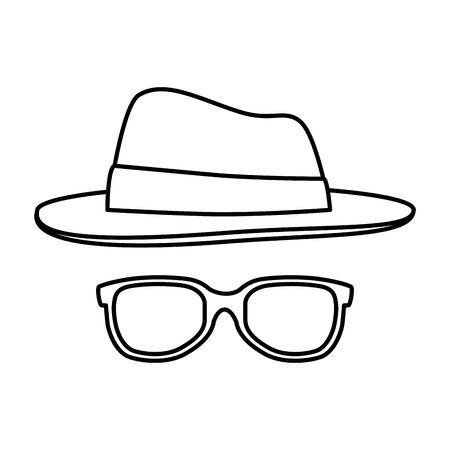 summer sunglasses with elegant hat vector illustration design Stock Vector - 129374256