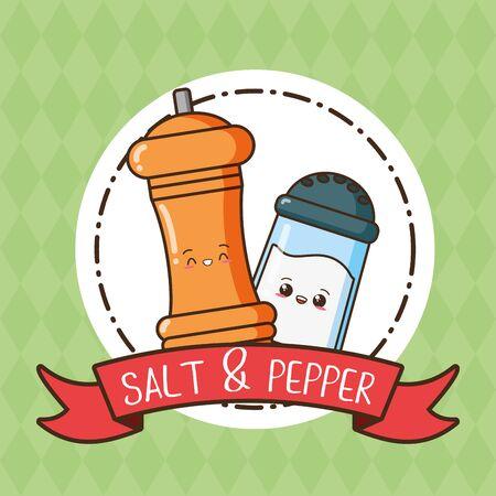 kawaii salt and pepper cartoon vector illustration