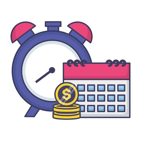 clock calendar money tax time payment vector illustration