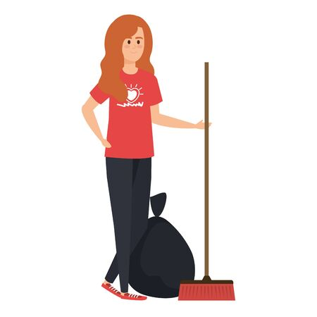 young woman volunteer with garbage bag with broom vector illustration design