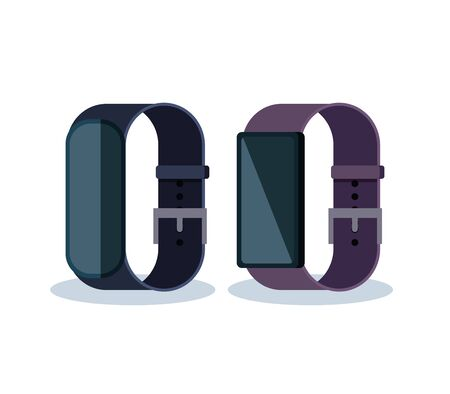 electronic smartwatches with touch and social technology vector illustration Banque d'images - 129374151
