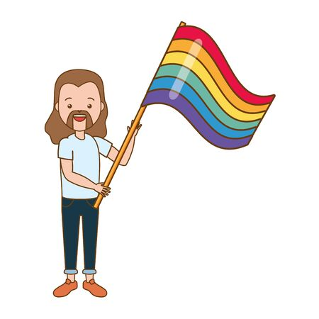 happy guy with flag lgbt pride vector illustration