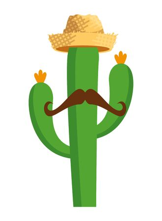 cactu with straw hat and mustache vector illustration design