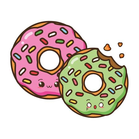 cartoon sweet donuts on white background vector illustration 일러스트