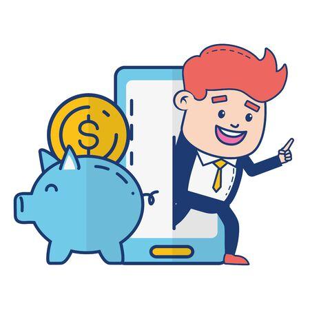 businessman piggy bank saving money digital online banking vector illustration