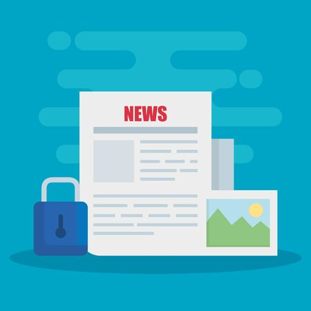 news documents information with padlock and photo vector illustration