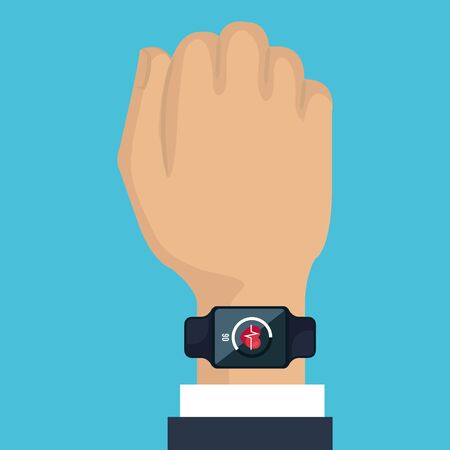 man hand with smartwatch technology and heartbeat app vector illustration Banque d'images - 129377074