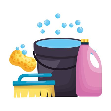 bucket brush sponge detergent spring cleaning tools vector illustration