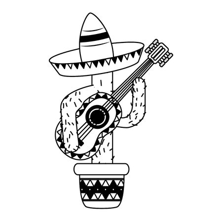 cactus with hat and guitar mexico cinco de mayo vector illustration 写真素材 - 129382675