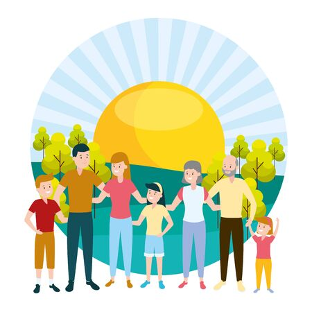 happy family parents kids grandparents vector illustration