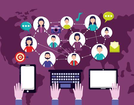 people technology connected social media vector illustration Illusztráció
