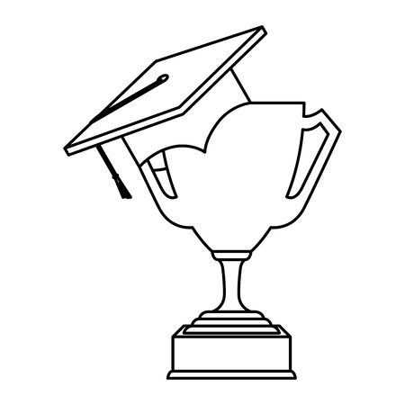 hat graduation with trophy cup vector illustration design Stock Illustratie
